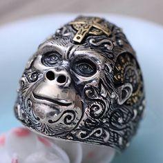 Men's Sterling Silver Gorilla Ring