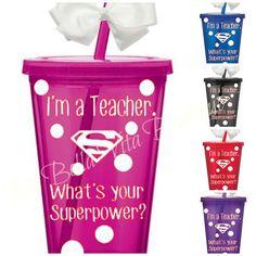 Teacher Tumbler -I'm a Teacher. What's Your Superpower- White Polka Dots Personalized Acrylic Tumbler 16oz -Go Green-Great Teacher Gift