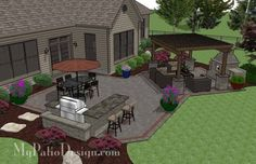 Large Brick Patio Design with Outdoor Fireplace, 12 x 16 Cedar Pergola and Grill Station with Attached Bar. | Plan No. 1151rr | Download Installation Plan at MyPatioDesign.com by patrica
