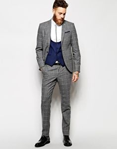 Noose & Monkey Grey Check Suit In Skinny Fit  Contrast blue waistcoat and grey suit