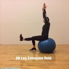 Stability Ball exercise for balance, core, and leg strength Stability Ball Exercises, Core Stability, Balance Exercises, Barre Workout Video, Workout Videos, Swimming Pool Exercises, Home Strength Training, Body Weight, Weight Loss