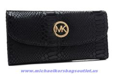 Michael Kors Python-embossed Snap Wallet Black For Sale