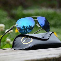 129189d15904 LVVKEE HOT rays s Aviator HD Polarized Men women Driver Mirror sunglasses  Polaroid Lens Rimless sunglasses Top quality