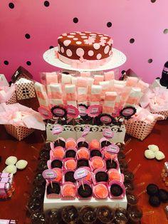 Decoração festa infantil, meninas, marrom e rosa.