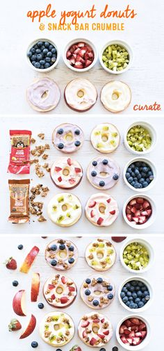 """For a fun and healthy back-to-school snack idea, make these Apple Yogurt """"Donuts."""" The donuts are simply sliced apples topped with yogurt """"frosting"""" and a crumble made from soft and chewy Curate snack bars in kid-approved flavors like Chocolate and Banana or Apples and Cinnamon. This fun-to-eat snack is sure to be a hit with your hungry kiddos!"""
