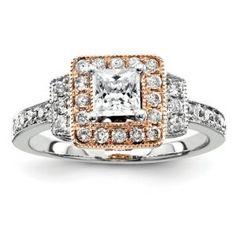 14k Two-Tone Gold Semi Mount Diamond Engagement Ring Diamond Bridal Rings and Mountings