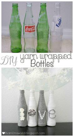 Super cute yarn wrapped bottles - It's A Mom's World Glass Bottle Crafts, Wine Bottle Art, Diy Bottle, Bottles And Jars, Glass Bottles, Yarn Bottles, Yarn Wrapped Bottles, Garrafa Diy, Creation Deco