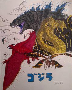 Image may contain: 1 person Memes De Cumpleaños, Dibujos De Godzilla, Criaturas Míticas, Arte Oscuro, Dinosaurios, Historietas, Fondo De Pantalla De Godzilla, Dibujo Monstruo, King Kong