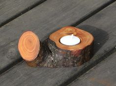wooden candle holder rustic tealight candle holder by Woodur, $18.00