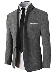 H2H Mens Casual Slim Fit Single Breasted Jackets of Various Styles