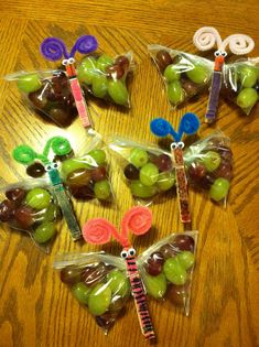 Easy healthy birthday treats for school. Karsen got to help and color the pins…