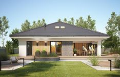 Rustic Italian Home Modern Bungalow Exterior, Modern Bungalow House, Dream House Exterior, House Layout Plans, Small House Plans, House Layouts, Casas Country, House Design Pictures, Model House Plan