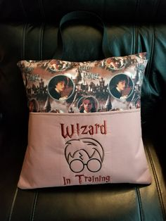 Harry Potter Reading Pillow/Pocket Pillow/Bed Pillow/Vacation Pillow by NanNEmbroideryShop on Etsy