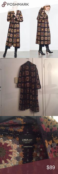 NEW Zara Brown Patchwork Crocket Knit Coat, Medium Brown patchwork crochet coat. Brand new, never worn. Size medium. Pet free/smoke free home. Zara Jackets & Coats