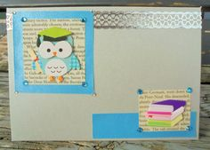 Graduation Owl handmade card congratulations by RogueKissedCraft Owl Card, Graduation Cards, Recycled Materials, Etsy Store, Congratulations, Recycling, Awesome, Handmade Gifts, Crafts