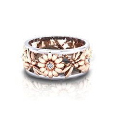 Daisy Dragonfly Ring - Expertly crafted from white and rose gold in America by the jewelry artisans at Jewelry Designs.