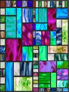 Contemporary styled stained glass panel: splash of unexpected color