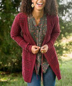Matilda Jane Clothing Burgundy A Stitch In Time Cardigan - Women | Zulily