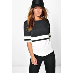 Boohoo Petite Petite Mila Colour Block Oversized Tee featuring polyvore, women's fashion, clothing, tops, t-shirts, multi, white t shirt, white crew neck t shirt, ribbed tee, long sleeve tees and white tee