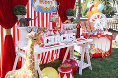 The epic circus party was filled with themed desserts, fun decorations and games.
