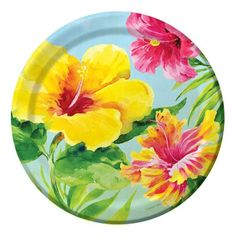 Heavenly Hibiscus Paper Lunch Plates 8ct