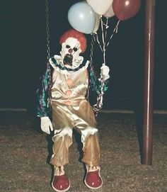 Put the balloons away like now! There for the circus or birthday! You silly clown!