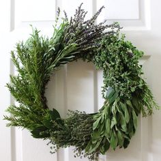 Choose herbs that will dry on the wreath, instead of ones that will shrivel and die. Rosemary, lavender, thyme and bay leaves will keep their shape beautifully, and their scent lingers long after the holidays are over. Avoid herbs like basil, parsley or mint, which wilt within a few hours out of the refrigerator. Sage dries nicely, but it does...