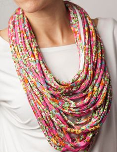 Pink upcycled fabric necklace