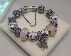 PANDORA Bracelet with Daisy Clips, Daisy Murano and Pretty Butterfly Charms!