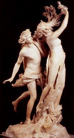 -Gian Lorenzo Bernini  -Apollo en Daphne  -tussen 1622 en 1625  - Galleria Borghese - Rome    *Dit beeld is heel realistisch beeldgehouwen. Het mooiste eraan vind ik dat je er veel beweging in ziet: je ziet dat Daphne al aan het veranderen is in een boom.