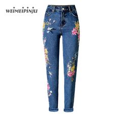 ==> [Free Shipping] Buy Best Womens Jeans Embroidered Floral Fashion Boyfriend Female Jeans Mujer High Waist Plus Size Straight Wide Leg Denim Pants Feminino Online with LOWEST Price | 32808851034