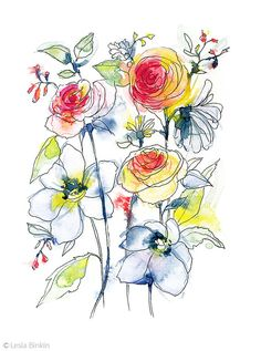 Watercolor and Ink floral abstraction by Lesia Binkin