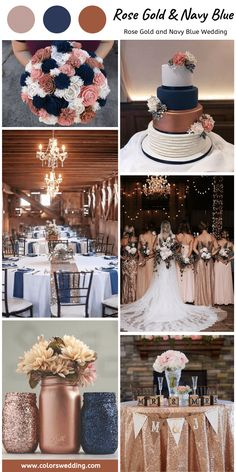 Rustic + Rose Gold + Navy Blue Wedding: rose gold dresses for bridesmaid, white bridal gown, rose and navy mason jars, and white rose navy cake with flowers themes rustic rose gold Best 8 Rose Gold and Navy Blue Wedding Color Ideas Navy Blue Wedding Theme, Blue And Blush Wedding, Gold Wedding Gowns, Rose Gold Theme, Fall Wedding Colors, Rose Wedding, Dream Wedding, White Bridal, Rose Gold Weddings