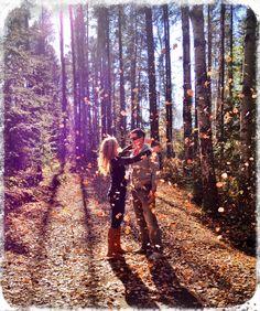 Engagement photo, fall background.