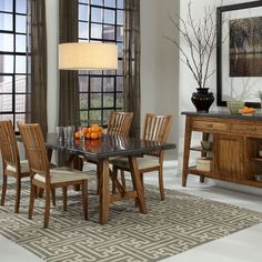 Dinnertime is about to get more charming with the Lucca dining collection with Bluestone finish table top | Jerome's Furniture