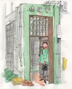 "Old Building in Wan Chai  / 灣仔(ワンチャイ)の古いビル   Illustrated by Mitsuko OnoderaFrom: ""Mitsuko's Hong Kong Illustration""(watercolors, colored pencils)"