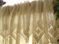 "20x200"" WIDE Vintage HAND Crochet Lace Valance Curtain Diamonds | vintagelacelady - Home Decor on ArtFire"