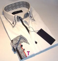 Brand New Mens Formal White and Black Double Collar Slim Fit Shirt Smart Casual