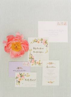 Pink and Green Garden Theme Watercolor Wedding Stationery by Rifle Paper Co | photography by http://www.abbyjiu.com/