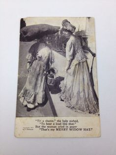 VTG 1908 Postcard Grollman Posted Comic Ladies Merry Widow Hat Funny Silly