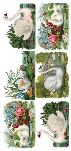 2 Sheets Self Adhesive Victorian Swans Stickers Colorful Decoupage Vintage, Decoupage Paper, Vintage Paper, Vintage Cards, Vintage Images, Decoupage Printables, Etiquette Vintage, Antique Illustration, Victorian Art