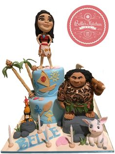 """3D 2 Tiered Disney's """"Moana"""" Cake By Belle's Kitchen, To Order Contact Our WA: 081294055786, Line: Bellekitchen, Also Be Sure To Follow Our Instagram @belle_kitchen"""