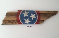 Wooden state of Tennessee cut out with state by 4DegreesCreatives