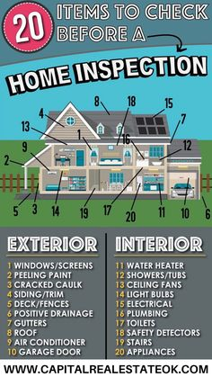 20 things to do before your home inspection. Home Buying Checklist, Home Buying Tips, Home Selling Tips, Home Buying Process, Selling Your House, Buying Your First Home, Sell Your House Fast, First Time Home Buyers, Real Estate Career