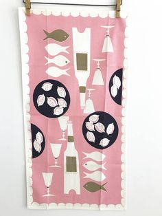 PINK Dish Towel Mid Century Pattern Fish Wine Bottle Glasses Nuts by NeatoKeen on Etsy