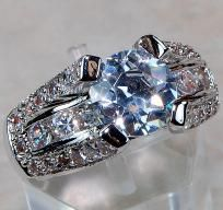 GORGEOUS TIFFANY STYLE 4+ W. TOPAZ ENGAGEMENT RING! HUGE! SZ. 7~925 SS! HEIRLOOM PIECE! FREE SHIP! $69.99