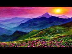 Sunset Landscape LIVE Acrylic Painting Tutorial - YouTube