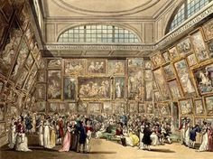 Royal Academy Exhibition Rm Somerset House by T. Rowlandson & A.C. Pugin publ. R. Ackermann's Repository of Arts 1809