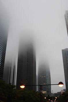 Skyscraper, fog.  Tumblr