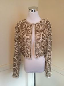 Lawrence Kazer Vintage Ivory Gold Geometric Beaded Cropped Jacket Size M L | eBay